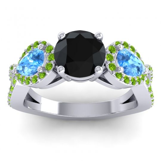 Three Stone Pave Varsa Black Onyx Ring with Swiss Blue Topaz and Peridot in 14k White Gold