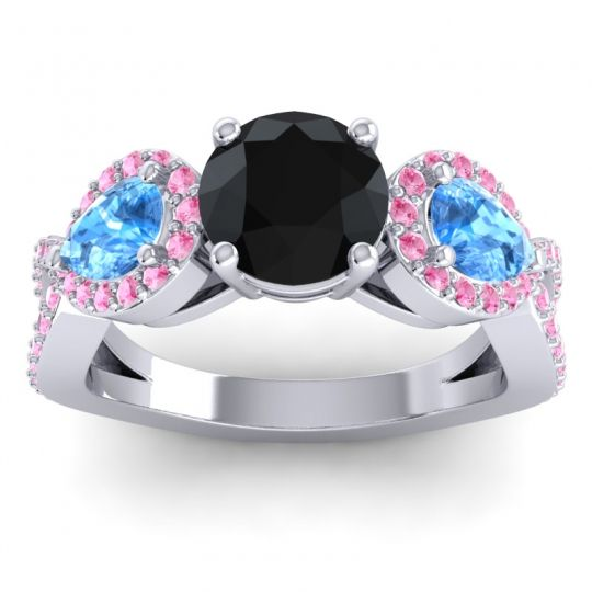 Three Stone Pave Varsa Black Onyx Ring with Swiss Blue Topaz and Pink Tourmaline in 14k White Gold