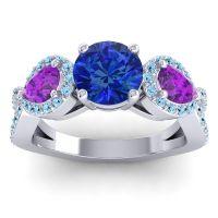 Three Stone Pave Varsa Blue Sapphire Ring with Amethyst and Aquamarine in Platinum