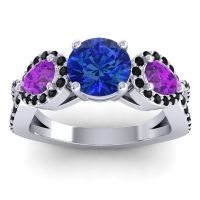 Three Stone Pave Varsa Blue Sapphire Ring with Amethyst and Black Onyx in Palladium