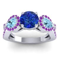 Three Stone Pave Varsa Blue Sapphire Ring with Aquamarine and Amethyst in 18k White Gold