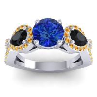 Three Stone Pave Varsa Blue Sapphire Ring with Black Onyx and Citrine in 14k White Gold