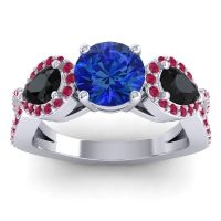 Three Stone Pave Varsa Blue Sapphire Ring with Black Onyx and Ruby in Palladium