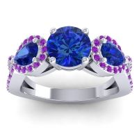 Three Stone Pave Varsa Blue Sapphire Ring with Amethyst in 14k White Gold