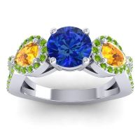 Three Stone Pave Varsa Blue Sapphire Ring with Citrine and Peridot in Platinum