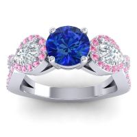 Three Stone Pave Varsa Blue Sapphire Ring with Diamond and Pink Tourmaline in 14k White Gold