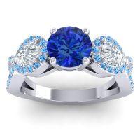 Three Stone Pave Varsa Blue Sapphire Ring with Diamond and Swiss Blue Topaz in Platinum