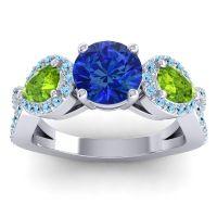 Three Stone Pave Varsa Blue Sapphire Ring with Peridot and Aquamarine in 14k White Gold