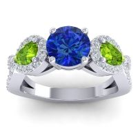 Three Stone Pave Varsa Blue Sapphire Ring with Peridot and Diamond in 18k White Gold