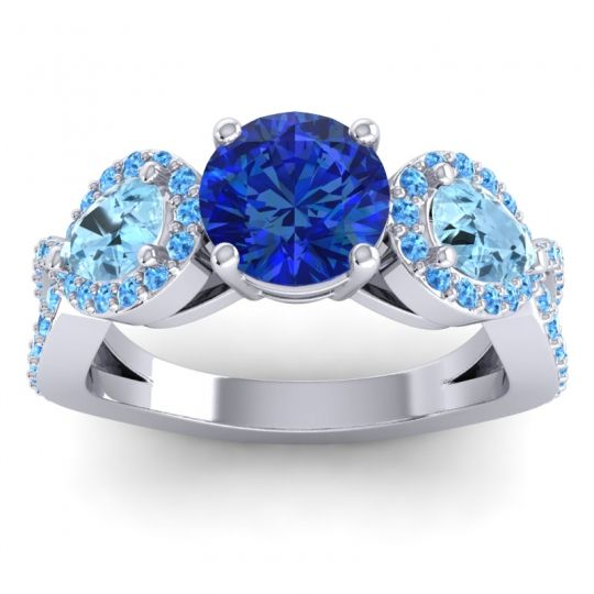 Three Stone Pave Varsa Blue Sapphire Ring with Aquamarine and Swiss Blue Topaz in 18k White Gold