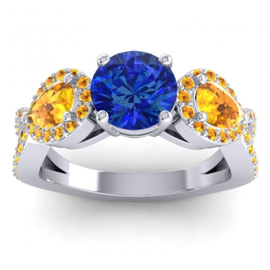 Three Stone Pave Varsa Blue Sapphire Ring with Citrine in 18k White Gold