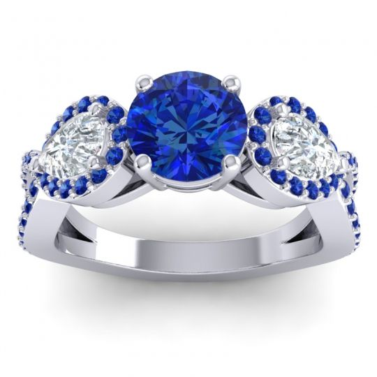 Three Stone Pave Varsa Blue Sapphire Ring with Diamond in Platinum