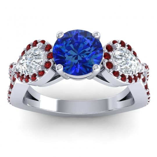 Three Stone Pave Varsa Blue Sapphire Ring with Diamond and Garnet in Palladium