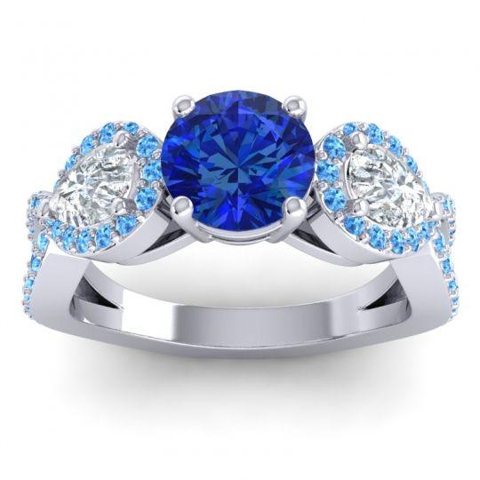 Three Stone Pave Varsa Blue Sapphire Ring with Diamond and Swiss Blue Topaz in Palladium