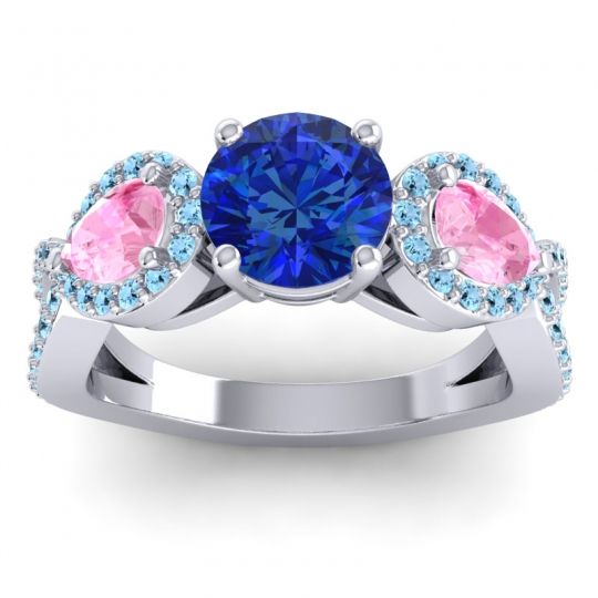 Three Stone Pave Varsa Blue Sapphire Ring with Pink Tourmaline and Aquamarine in 14k White Gold