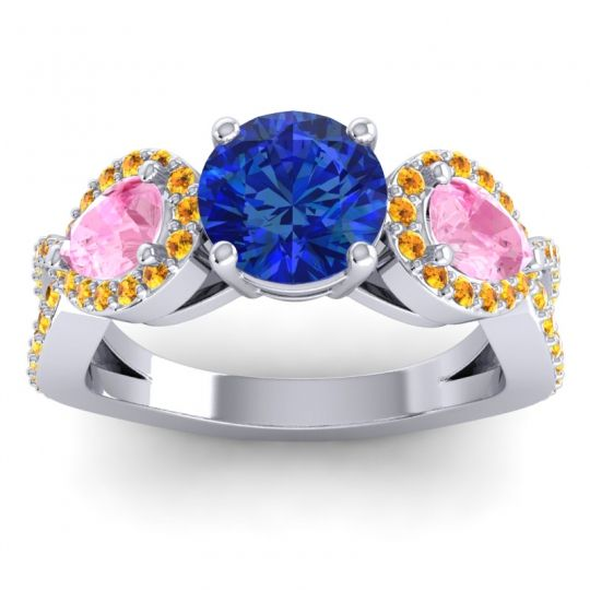 Three Stone Pave Varsa Blue Sapphire Ring with Pink Tourmaline and Citrine in 14k White Gold
