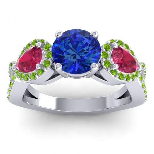 Three Stone Pave Varsa Blue Sapphire Ring with Ruby and Peridot in Palladium