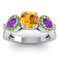 Three Stone Pave Varsa Citrine Ring with Amethyst and Peridot in 18k White Gold