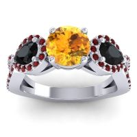 Three Stone Pave Varsa Citrine Ring with Black Onyx and Garnet in 14k White Gold