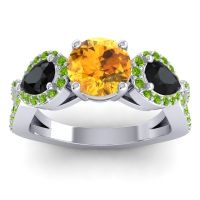 Three Stone Pave Varsa Citrine Ring with Black Onyx and Peridot in Palladium