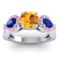 Three Stone Pave Varsa Citrine Ring with Blue Sapphire and Pink Tourmaline in 14k White Gold