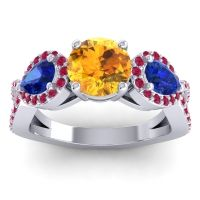 Three Stone Pave Varsa Citrine Ring with Blue Sapphire and Ruby in 18k White Gold