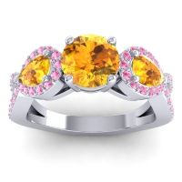 Three Stone Pave Varsa Citrine Ring with Pink Tourmaline in 14k White Gold
