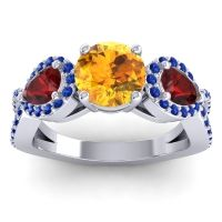 Three Stone Pave Varsa Citrine Ring with Garnet and Blue Sapphire in 14k White Gold