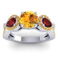 Three Stone Pave Varsa Citrine Ring with Garnet in Platinum