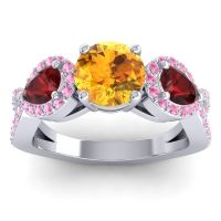 Three Stone Pave Varsa Citrine Ring with Garnet and Pink Tourmaline in 14k White Gold