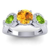 Three Stone Pave Varsa Citrine Ring with Peridot and Diamond in 18k White Gold