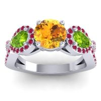 Three Stone Pave Varsa Citrine Ring with Peridot and Ruby in 18k White Gold