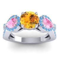 Citrine Three Stone Pave Varsa Ring with Pink Tourmaline and Swiss Blue Topaz in Platinum