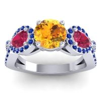 Three Stone Pave Varsa Citrine Ring with Ruby and Blue Sapphire in Platinum