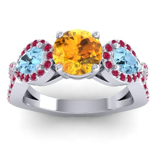 Three Stone Pave Varsa Citrine Ring with Aquamarine and Ruby in 14k White Gold