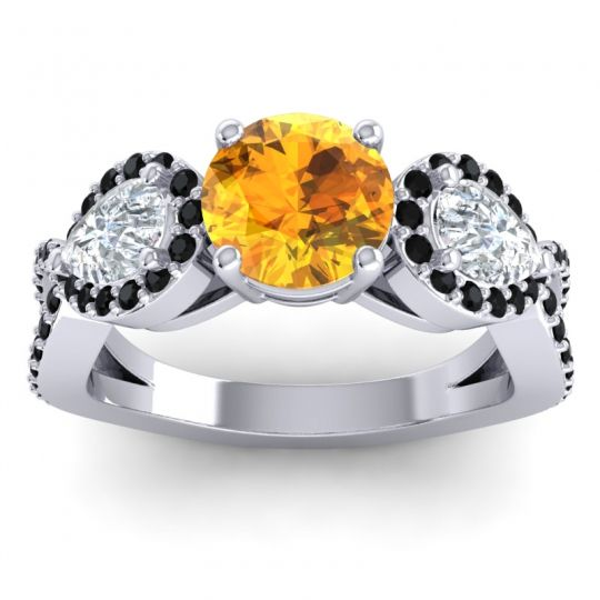 Three Stone Pave Varsa Citrine Ring with Diamond and Black Onyx in 14k White Gold