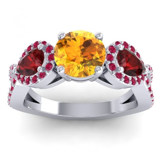 Citrine Three Stone Pave Varsa Ring with Garnet and Ruby in Palladium