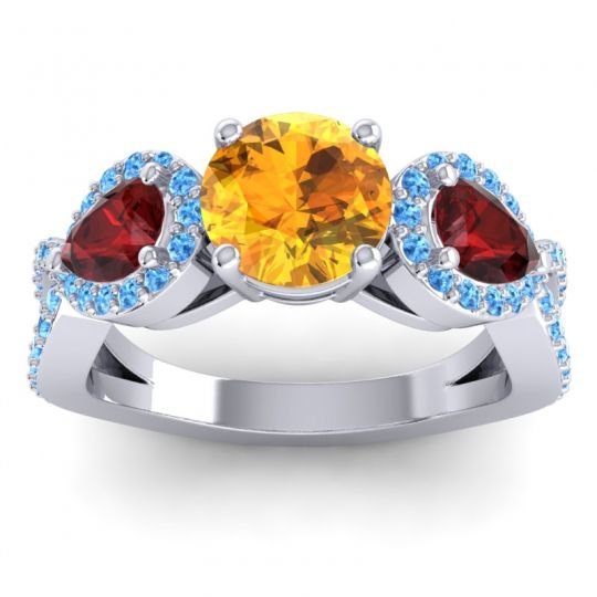 Citrine Three Stone Pave Varsa Ring with Garnet and Swiss Blue Topaz in Platinum
