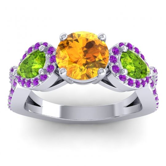 Citrine Three Stone Pave Varsa Ring with Peridot and Amethyst in Palladium