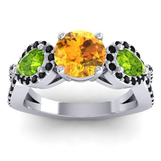 Citrine Three Stone Pave Varsa Ring with Peridot and Black Onyx in 14k White Gold