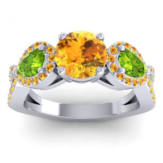 Citrine Three Stone Pave Varsa Ring with Peridot in 18k White Gold