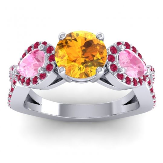 Citrine Three Stone Pave Varsa Ring with Pink Tourmaline and Ruby in Platinum