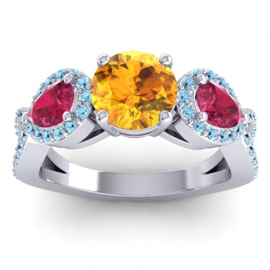 Citrine Three Stone Pave Varsa Ring with Ruby and Aquamarine in 18k White Gold