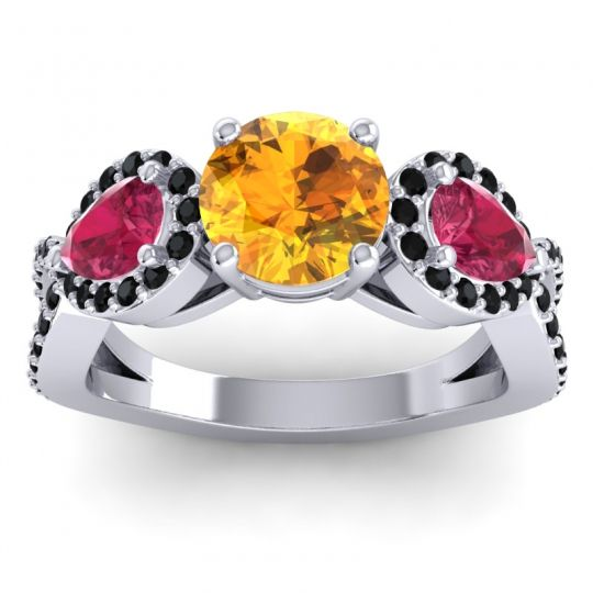 Citrine Three Stone Pave Varsa Ring with Ruby and Black Onyx in 18k White Gold