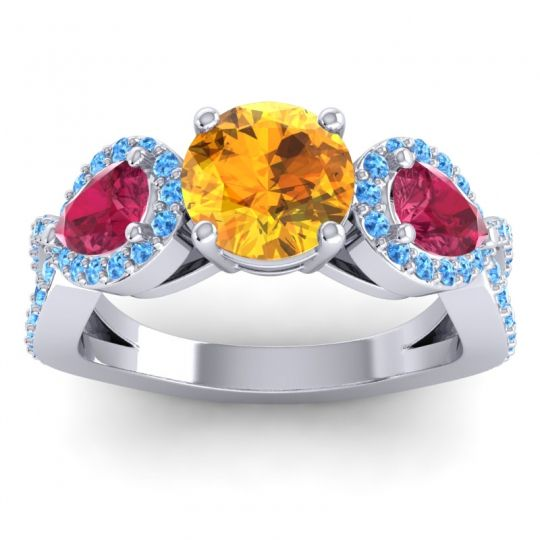 Citrine Three Stone Pave Varsa Ring with Ruby and Swiss Blue Topaz in Palladium