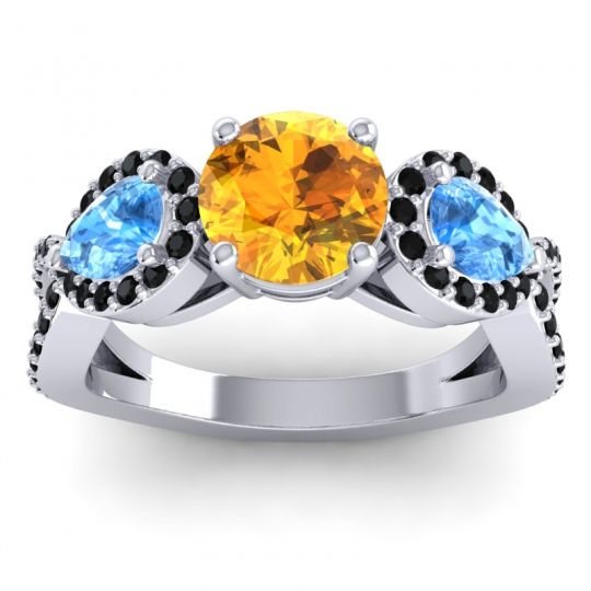 Citrine Three Stone Pave Varsa Ring with Swiss Blue Topaz and Black Onyx in 18k White Gold