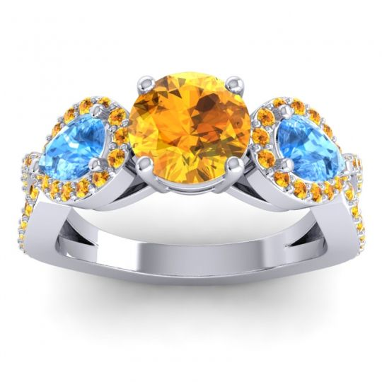 Three Stone Pave Varsa Citrine Ring with Swiss Blue Topaz in 18k White Gold