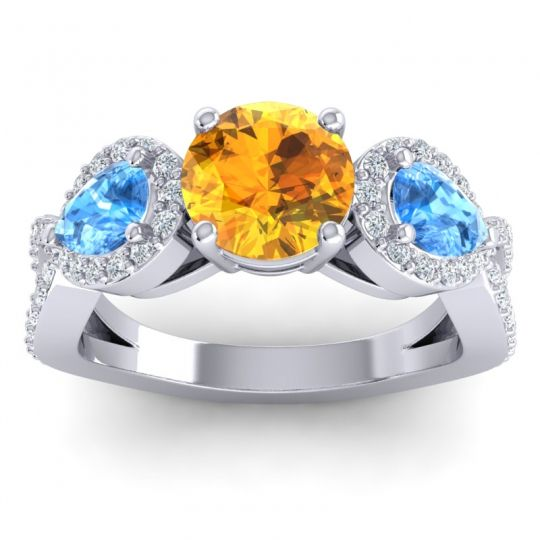 Citrine Three Stone Pave Varsa Ring with Swiss Blue Topaz and Diamond in 18k White Gold