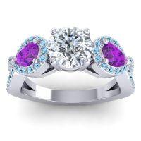 Three Stone Pave Varsa Diamond Ring with Amethyst and Aquamarine in 14k White Gold