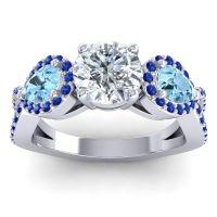 Three Stone Pave Varsa Diamond Ring with Aquamarine and Blue Sapphire in 18k White Gold